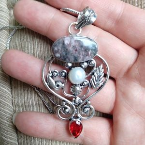 Jewelry - Ruby zoisite garnet natural pearl stamped pendant